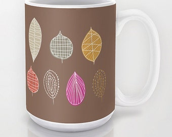 Nature mug Leaves Personalized Gift - 11 or 15 oz - Birthday Women Man Coffee Mug Fall Kitchen Tea Cute Warm Colors Woodland Cottage Novelty