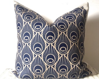 Art deco cushion, Retro pillow cover, retro cushion cover, art deco pillow, navy art deco, peacock cushion, zippered pillow, sofa cushion