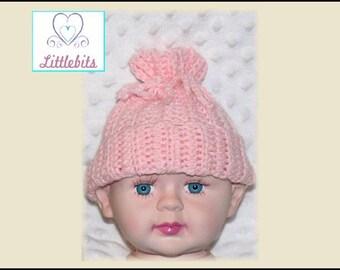 Newborn Baby Crocheted Drawstring Beanie in Blue Brown Grey Pink White
