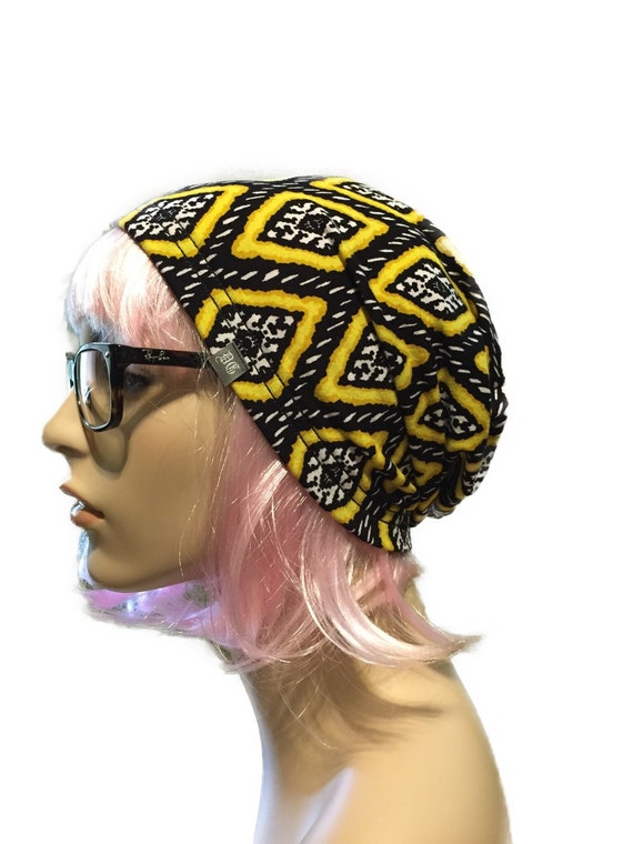 slouch beanie hat // black yellow print beanie hat // tribal beanie // handmade hat // hand sewn beani hat // black and yellow hat beanie