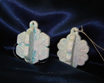 Pair of Snowflake Ornaments -  Christmas Ornaments - Ceramic Ornaments - Tree Ornaments