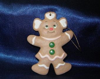 Gingerbread Girl Ornament - Gingerbread Ornaments - Gingerbread People - Christmas Ornaments - Ceramic Ornaments