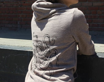 Brown/Tri-Coffee Tri-Blend Geometric Octopus American Apparel Hoodie