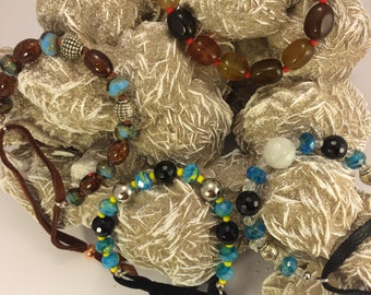 Seed bead, leather and gemstone bracelet