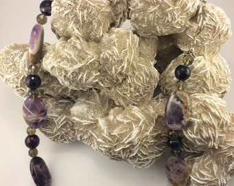 Chevron Amethyst, Smokey Quartz and Black Onyx Necklace