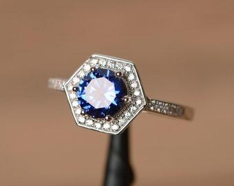 lab sapphire ring September birthstone ring blue gemstone ring octagon ring