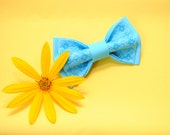 EMBROIDERED bright blue bow tie Men's ties For wedding in shades of blue Great to wear with vivid yellow stuff Stylish Fashionable For groom