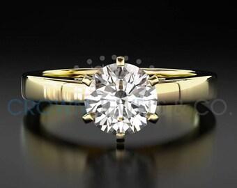Diamond Anniversary Ring 14 Karat Yellow Gold 1.1 Carat Certified Round Cut D VS Women Diamond Ring