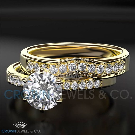 Eternity Ring Wedding Set: Half Eternity Wedding Band Diamond Engagement Ring Set 0.9