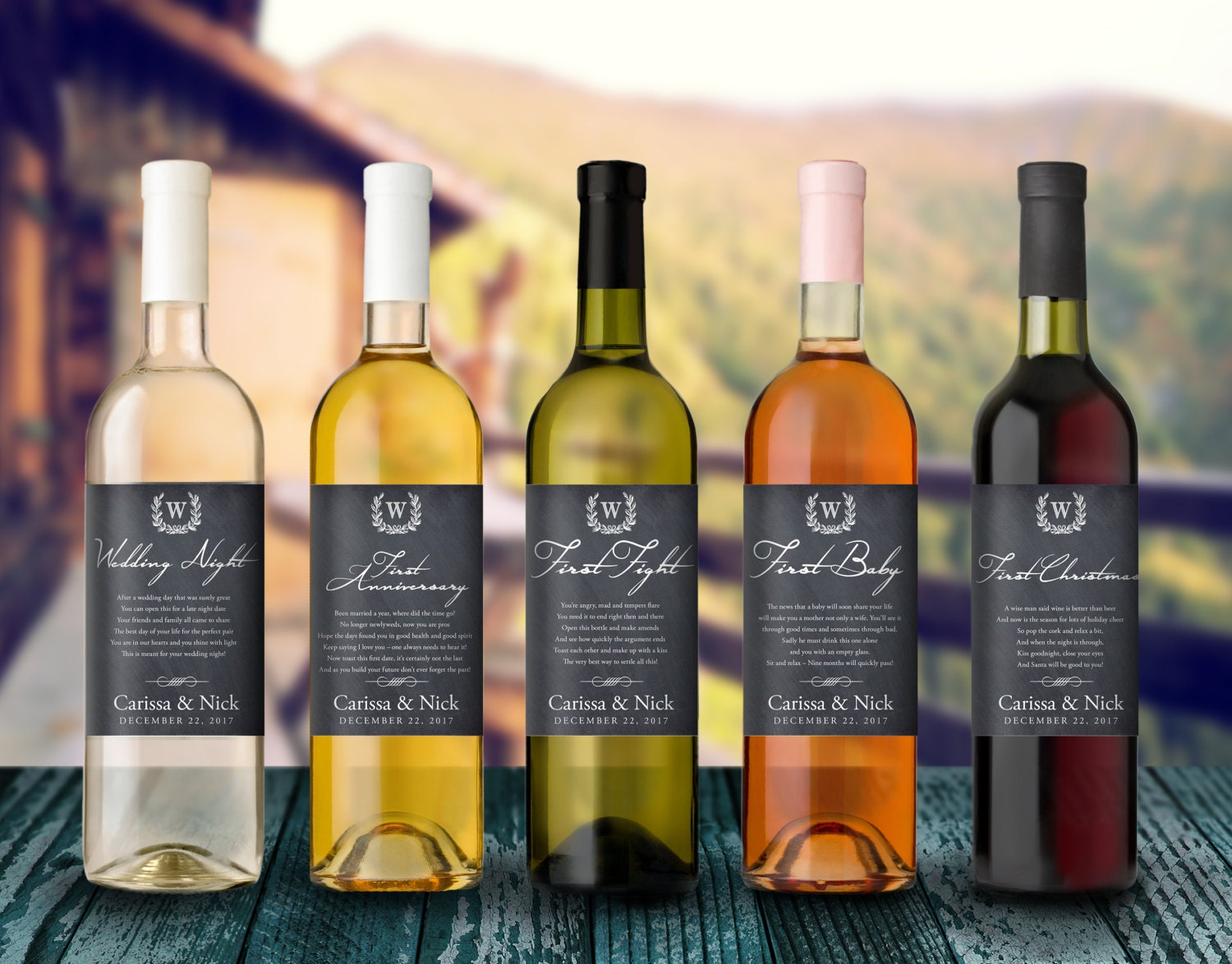 This is a picture of Geeky Wine Bottles and Labels