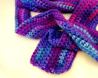 Purple Crochet Wraparound Scarf, Varigated Blue and Purple Accessory