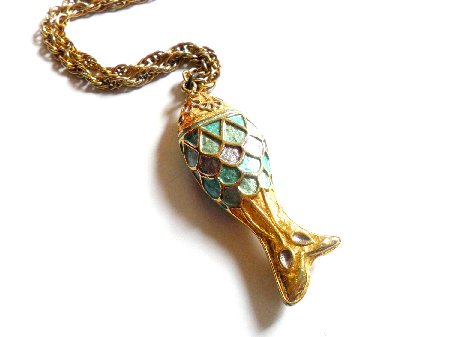 Vintage enamel fish pendant necklace vintage blue purple gold for Gold fish pendant