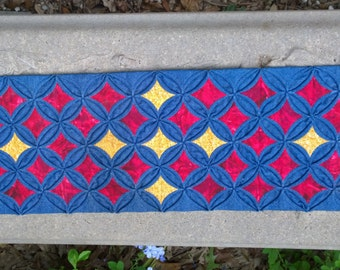 Hand Sewn, Cathedral Window Runner, Dresser Scarf, Denim and Quilter Cottons, Hand Quilted, Red and Yellow Insets