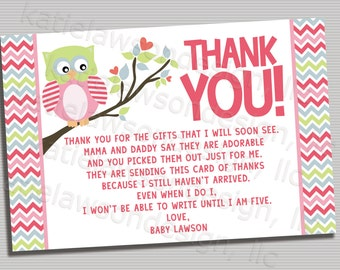 Owl Thank You Poem Card - PRINTABLE DIGITAL FILE