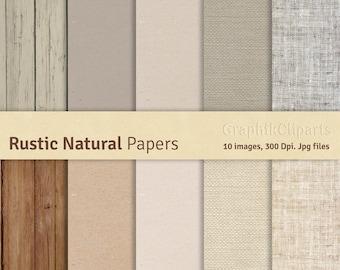 Rustic Natural Digital Papers. Wood texture, Burlap texture, Kraft texture, Linen texture. 10 images, 300 Dpi. Jpg files. Instant Download.