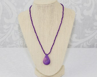 Purple Agate Pendant Statement Necklace: Hypoallergenic, Metal Free, Agate Statement Necklace, Purple Statement Necklace, Allergy Friendly
