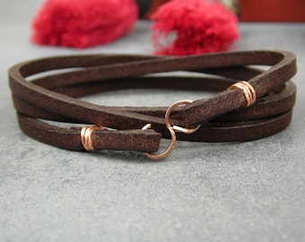 FREE SHIPPING / Leather Bracelet / Womens Leather Bracelet / Leather Wrap Bracelet / Leather Wrap / Boho Leather Wrap / Boho Wrap Bracelet