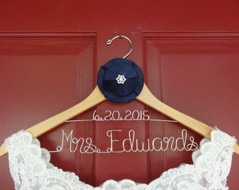 Personalized Wedding Dress Hanger-Double Line WITH Custom Flower
