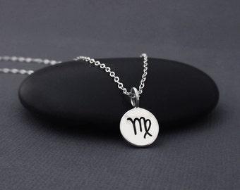 Virgo Necklace Sterling Silver Virgoi Zodiac Charm Pendant, Zodiac Jewelry, Astrological Jewelry