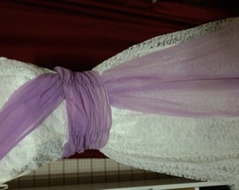 Vintage Party Dress with Lace Overlay and Purple Chiffon Sash- 1950s Beauty!