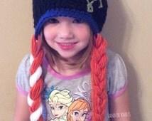 Anna hat, crochet anna hat, princess anna hat, frozen hat, elsa hat, anna hat with braids, toddler anna hat.