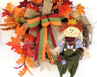 FALL WREATH~SCARECROW~Rustic~Halloween~Natural~Primitive~Burlap~Autumn~Harvest~Foliage~Gift