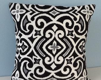 "Black and white pillow cover. Robert Allen New Damask. Black and white contemporary pillow. 18"" Decorator pillow. Throw pillow. Toss pillow"