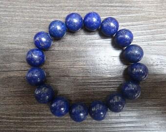 14mm Natural blue lapis lazuli bead bracelet pray for good fortune