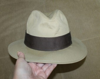 "Tan w Brown Trim ""Indiana Jones"" Hat,  Safari Fedora, Wide Brim, Panama Hat, Henry's Hat, Very Collectible, Size - Large 7 1/4th to 7 2/8th"