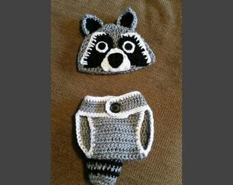 Crochet Raccoon Baby Set Photo Prop