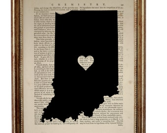 Indiana State Indianapolis  Art Print on Upcycled Book page 8'' x 10'' inches