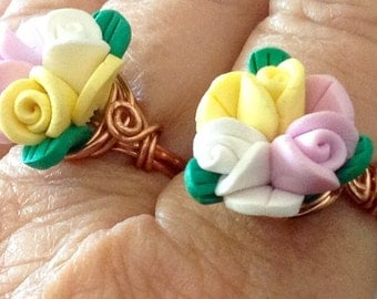 Yellow,pink,and White Rose Ring Wire Wrapped Sizes 6 through 10