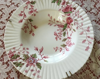 "Booths China England Silicon China Porcelain Rim Soup Bowl  with "" Washington""Pink Burgundy Floral Pattern English Porcelain Burgundy Floral"