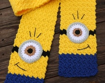Minion Inspired Scarf - One-Eyed Minion - Minion Rush - Disney Inspired Scarf - Winter Scarf - Halloween Costume - Toddler/Child/Adult Sizes