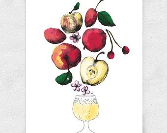 Hard Cider Print, Apple Cider, Basement Bar Art, Brewery Art, with Glass / 12x16 Print