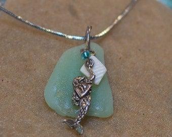 Seafoam Seaglass Mermaid Necklace (NSGSSF4)