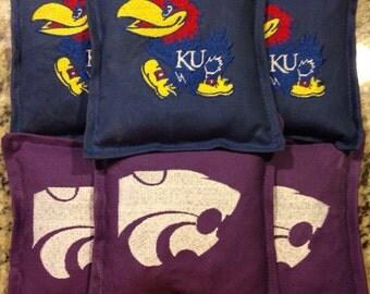 Kansas Embroidered cornhole bags set of 10