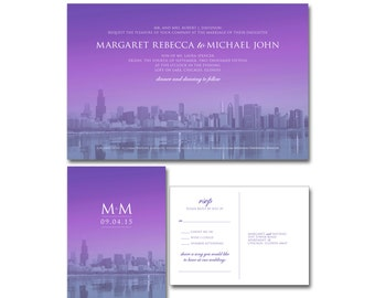 Wedding Invitation (5.5x8.5) and RSVP Postcard (4x6) - Chicago Skyline - Purple Ombré - Printable and Personalized