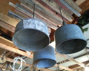 Farm funnel chandelier