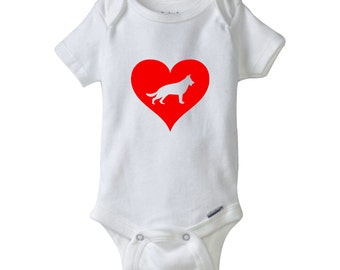 Gerber germany etsy love heart german shepherd gerber onesie baby shower gift personalized baby clothes negle Images