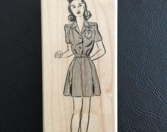 Rubber Stamp on Wood Block – Retro Woman Rubber Stamp, Scrapbooking, Card Making, Craft Stamp, Hero Arts