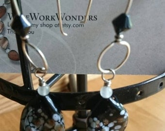 Black, white, and gold blown glass earrings
