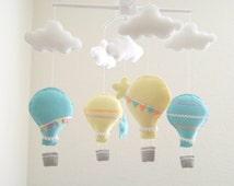 Yellow and aqua hot air balloon baby mobile,  star baby mobile, cloud baby mobile, nursery crib mobile, peach mobile, hot air balloon mobile