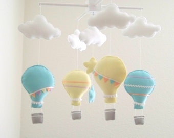 Yellow and aqua hot air balloon baby mobile,  star baby mobile, cloud baby mobile, nursery crib mobile, peach mobile, hot air balloon mobile
