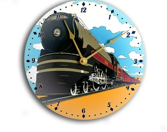 Vintage art train clock. Railroad clock. Blue, black and gold 10 inch wall clock.  CL3207