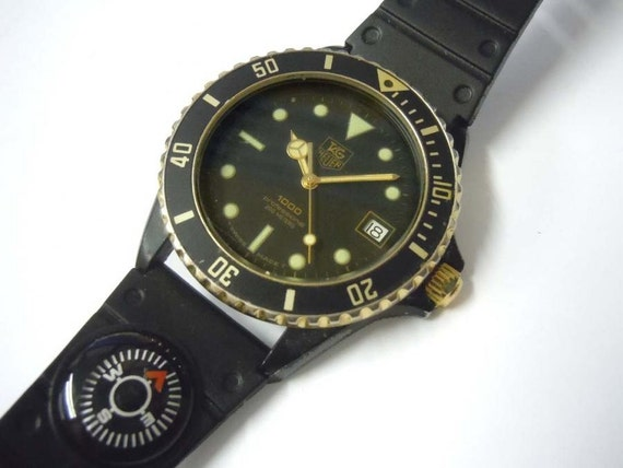 Mens tag heuer professional 1000 black coral dive watch - Heuer dive watch ...