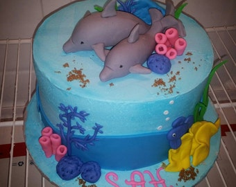 edible sea creatures fondant baby shower birthday cake toppers