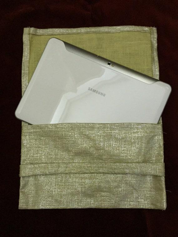 SALE!  Tablet envelope sleeve in shiny gold and silver fabric