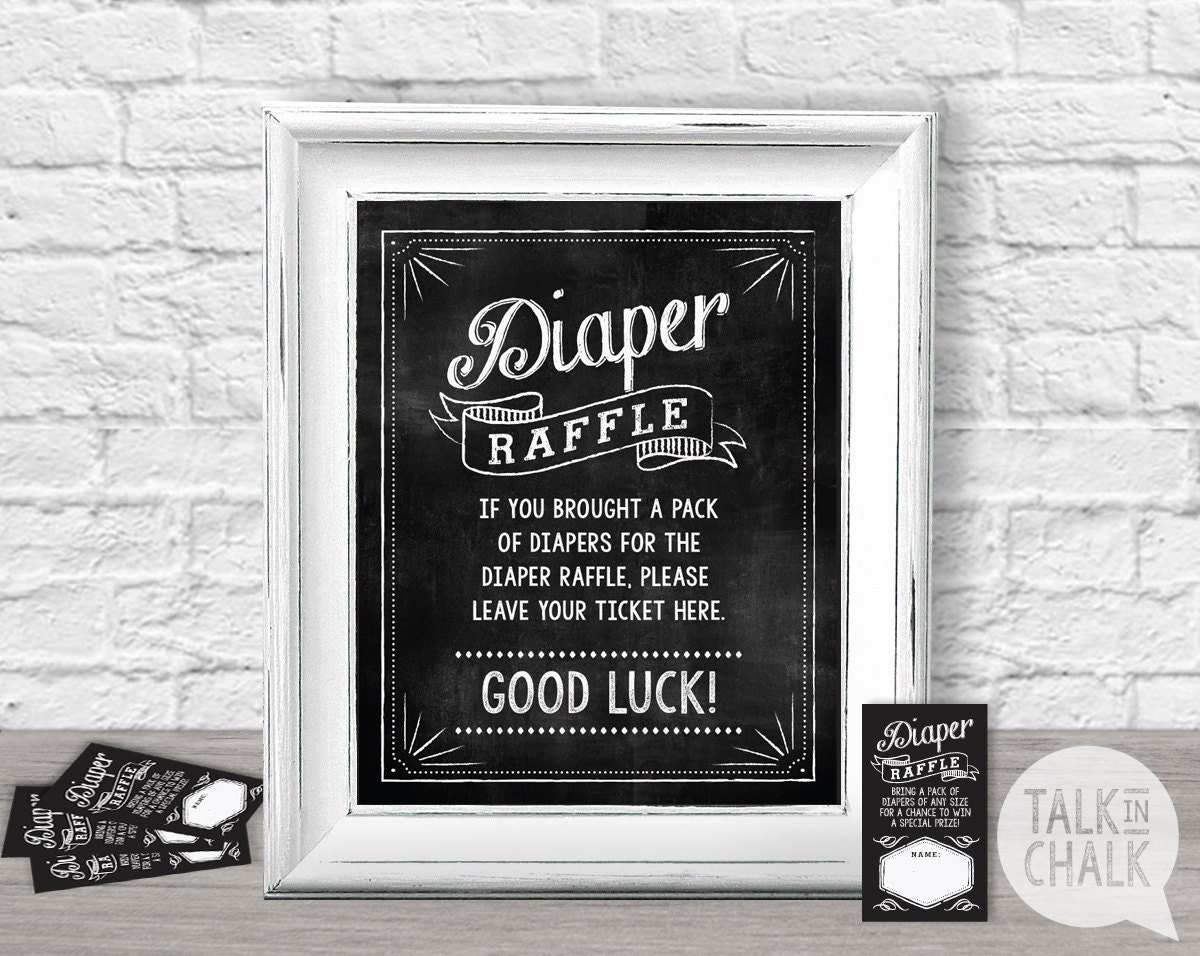 Baby Shower Diaper Raffle Sign Printable Diaper Raffle