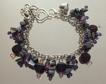 Purple and gray charm bracelet